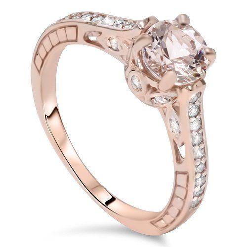 1.25CT Morganite & Diamond Vintage Engagement Ring 14K Rose Gold