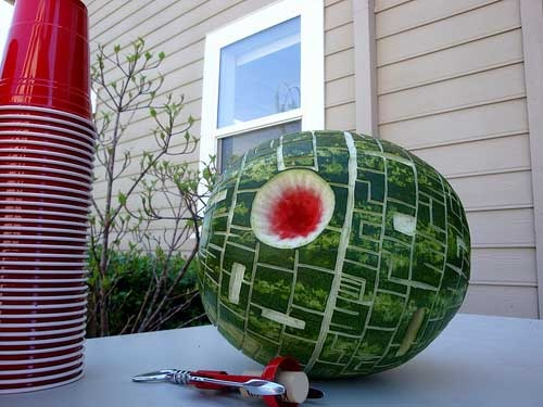 Death Star Watermelon - This link has lots of great Star Wars party ideas. It took me about an hour to make a Death Star watermelon. I did it with my large, rounded gouge. (Yes, the gouge I use for stamp carving.) It was a huge hit at Seth's 15th birthday party. ~Mandy~