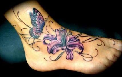 Tattoo foot butterfly flower 22 Ideas