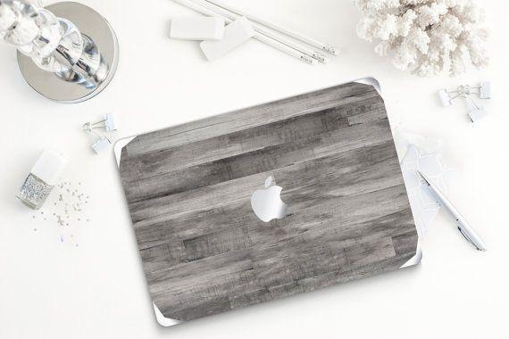 "Untreated Gray Wood Metallic Silver Detailing Hybrid Hard Case for Apple Macbook Air & Mac Pro Retina, New Macbook 12"""