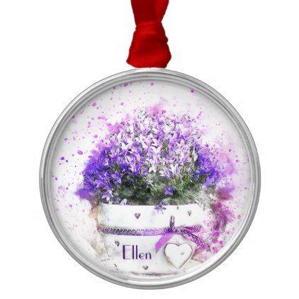 Feminine lavender and purple flowers bouquet metal ornament - watercolor gifts style unique ideas diy
