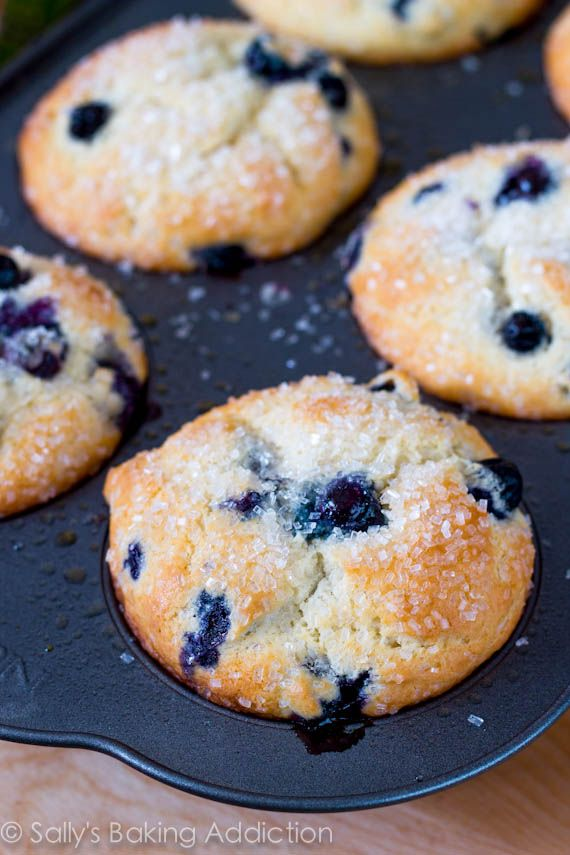 """Sparkling Jumbo Blueberry Muffins. """"Big, bakery-style muffins full of fluffy soft crumbs and rich buttery bites.  Crunchy sugared tops and plump, juicy blueberries."""""""