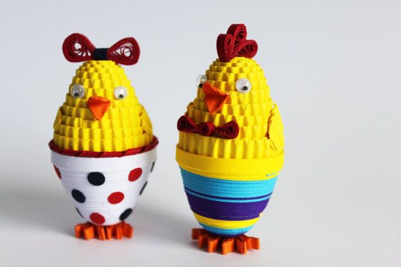 Girl and boy Easter chicks / Easter decoration / Paper quilling ornaments / 3d quilling / Easter gift $20.00 USD