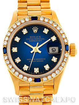 Rolex President Ladies 18k Yellow Gold Diamond Sapphires Watch 69088