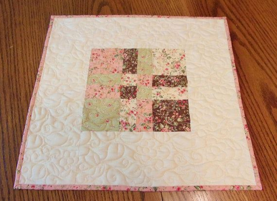 Quilted Table Topper, Shabby Cottage Chic, Floral Table Topper, Patchwork Table Topper, Quilted Table Runner, Table Decor, Free USA Shipping