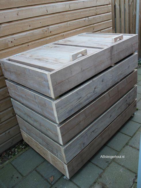 Container ombouw - steigerhout - tuin inspiratie