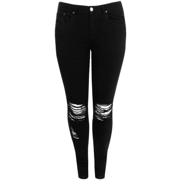 Boohoo Plus Abbi Ripped Knee Stretch Skinny Jean ($50) ❤ liked on Polyvore featuring jeans, pants, bottoms, calça, stretchy jeans, denim skinny jeans, skinny jeans, destroyed jeans and boohoo jeans