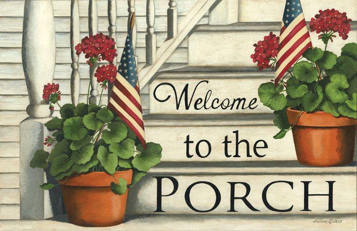 New Country Americana WELCOME TO THE PORCH Geranium Flag Rug Mat Non Skid | Home & Garden, Rugs & Carpets, Door Mats & Floor Mats | eBay!