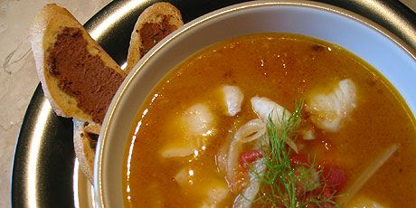 A good fish stew has three basic parts: the flavour base, the broth and the fish. Each is easy to master. This particular version highlights many of the bright flavours of the Mediterranean. Some would call it a bouillabaisse but I don't because that makes it sound intimidating, fancy and difficult. It also inspires too many conversations about authenticity. Remember its just fish stew!