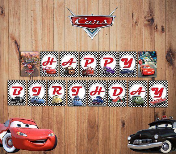lightning mcqueen cars birthday decorations cars centerpiece Cars banner cars birthday banner