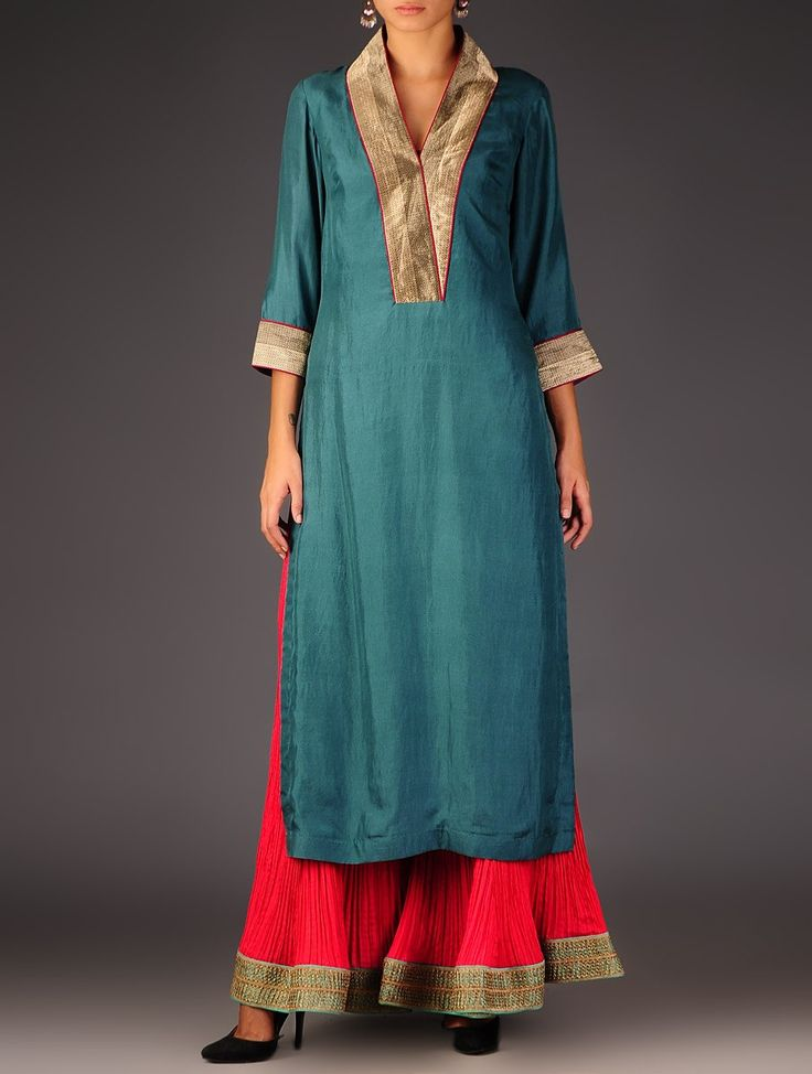Teal - Golden Brocade Detailed Silk V-Neck Kurta   This V-Neck kurta in silk with benarasi zari borders on the neck and sleeves, can be dressed up with a heavy duppata or worn as elegant and easy to wear kurta.