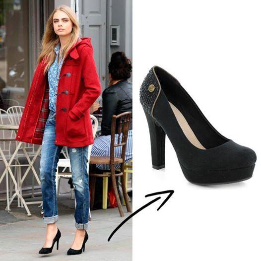 Los zapatos de salón negros son tan básicos que hasta chicas con estilo rebelde como Cara Delevingne no pueden resistirse a lucirlos. Hazlo tu también con estos de XTI.