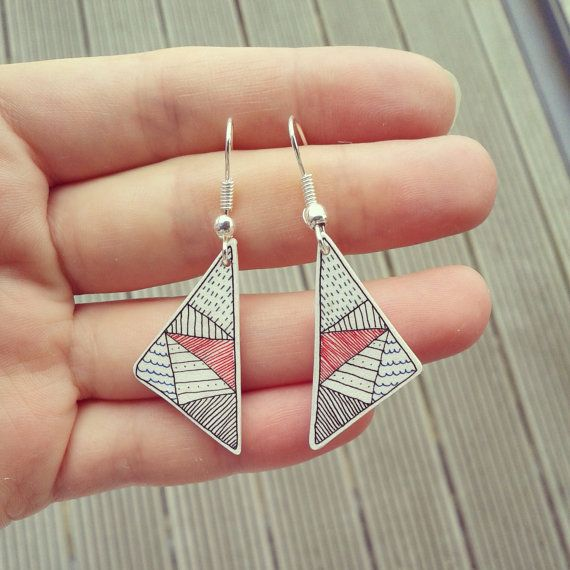 Triangle Earrings - hand drawn geometric earrings in shrink plastic, silver plated hook earwires