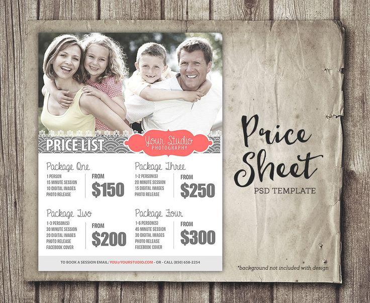 Price Sheet Template  Photography Price List  by StudioTwentyNine