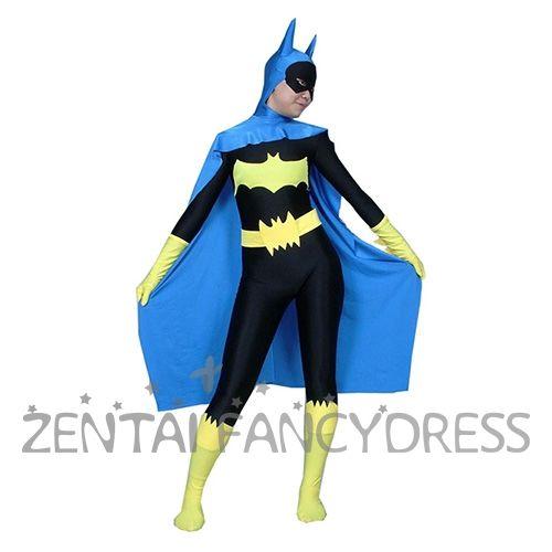 Black And Blue DC Comics Lycra Spandex Batman Superhero Costume