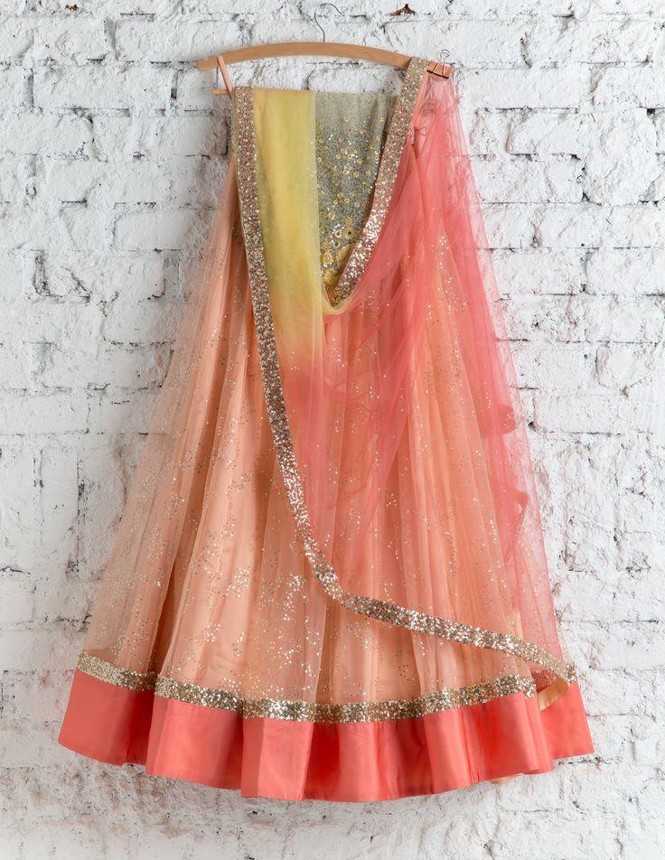 How pretty is this peachy pink lehenga by Swati Manish #Frugal2Fab
