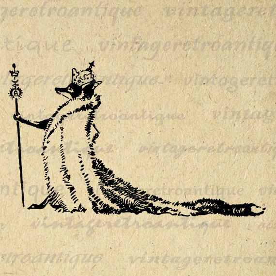 Digital Image Fox King Graphic Antique Illustration Download Printable Vintage Clip Art. High quality digital graphic for transfers, printing, t-shirts, and more great uses. Real vintage artwork. This digital graphic is large and high quality, size 8½ x 11 inches. A Transparent background png version is included.