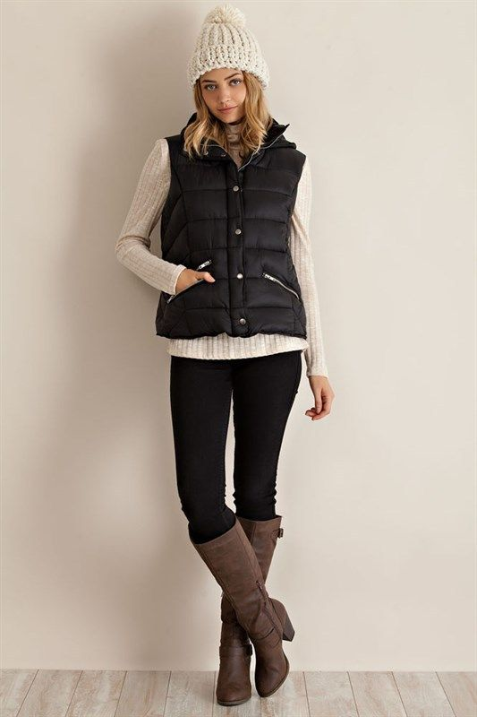 Black Zippered Puffer Vest with Hood - Sm to Lg - $38.00