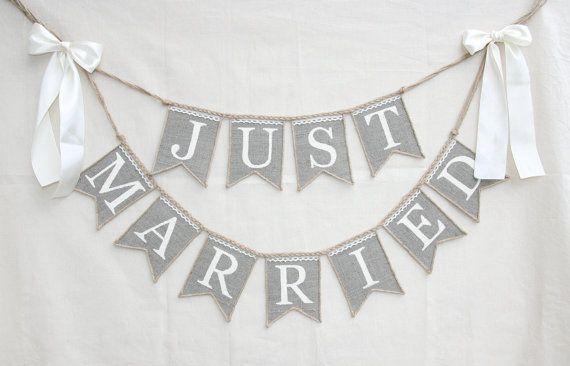 Just Married Wedding banner rustic wedding by FriendlyEvents