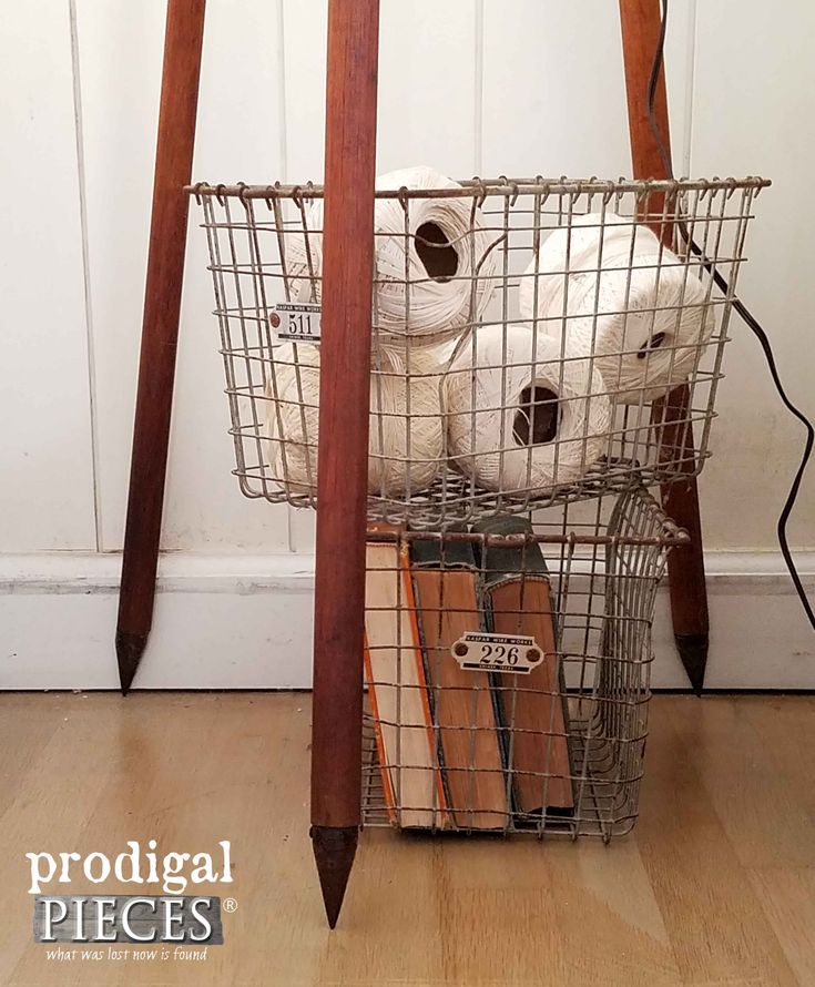 Tripod Floor Lamp Base with Wire Locker Baskets   Prodigal Pieces   www.prodigalpieces.com