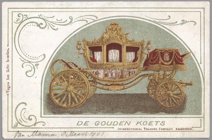 Ansichtkaart van de gouden koets uit 1901. (collectie: erzameling prentbriefkaarten Nederlands Vorstenhuis 1900-1970, Koninklijke Bibliotheek)