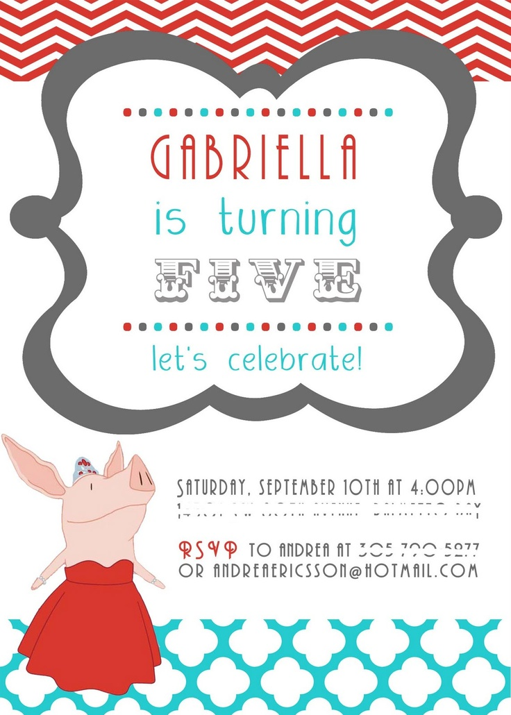 Olivia The Pig Party Food Ideas