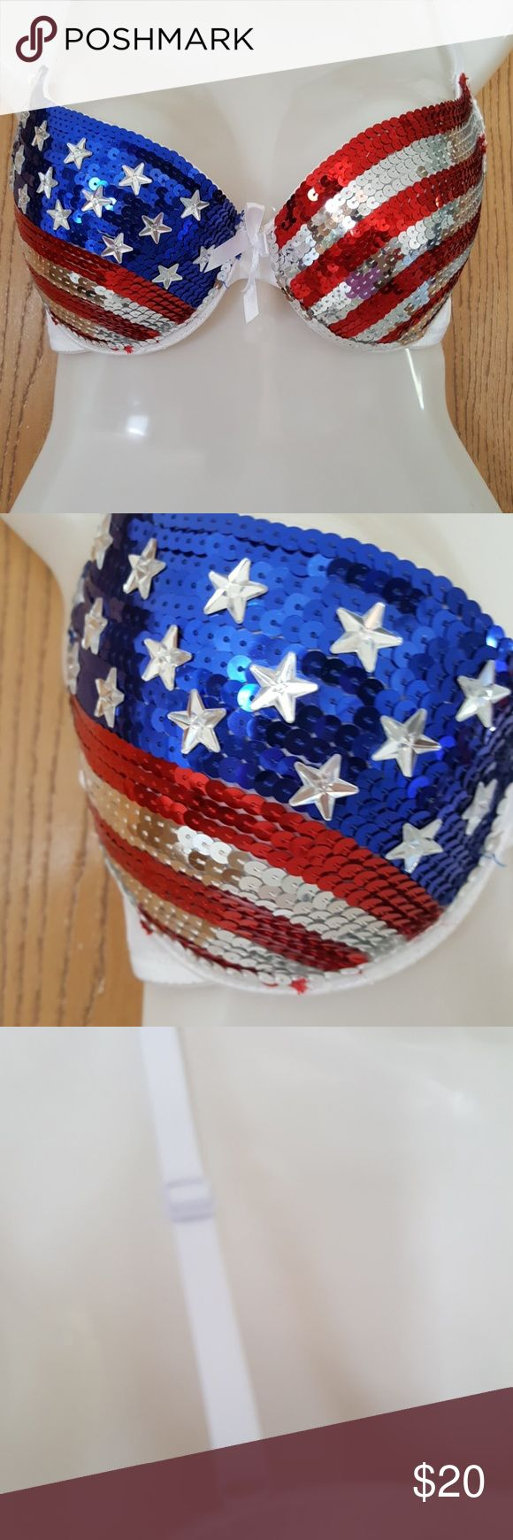 Sequins Beautiful Sequin American Flag Bra. These sequins were handstitched on.Adjustable straps.  Small flaw- easy fix see last pic-price affected. Intimates & Sleepwear Bras