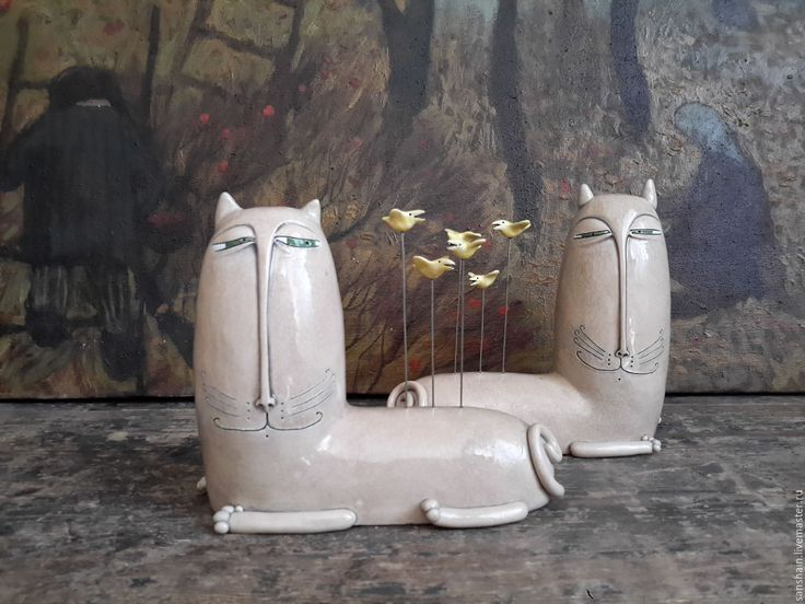 "Купить "" Кот и желтые канарейки "". - бежевый, кот, птички, канарейка"