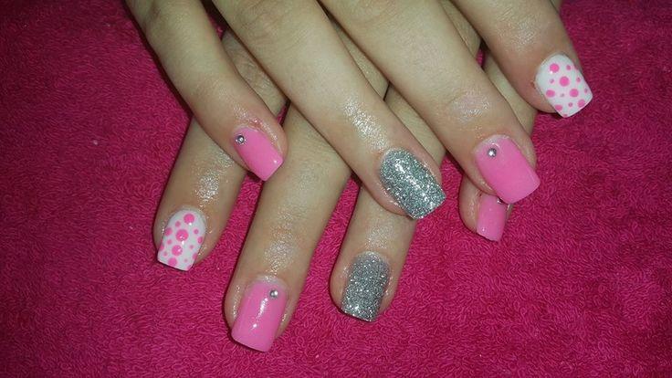 Pink, white and glitter nail art