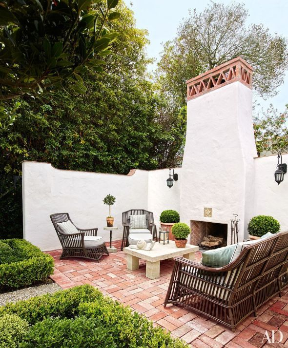 White Brick Outdoor Fireplace 42 In 2020 Spanish Style Homes Spanish Style Decor Spanish Style