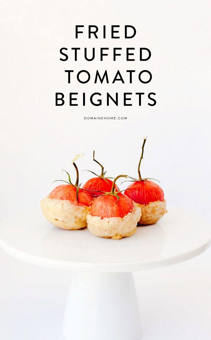"""BUÑUELOS"" DE TOMATITOS RELLENOS (Fried and stuffed tomato beignets) #AperitivosParaImpresionar #RecetasConTomates"
