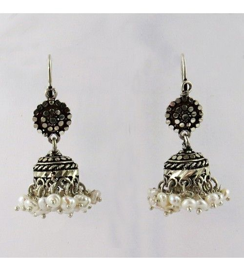 Awesome Marcasite Jhumka Pearl, Black CZ 925 Sterling Silver Earring, Weight: 10.1 g, Stone - Pearl, Black CZ, Stone - Pearl, Black CZ, Size - 4.0 x 2.2 cm, Wholesale Orders Acceptable, All Pieces have 925 Stamp