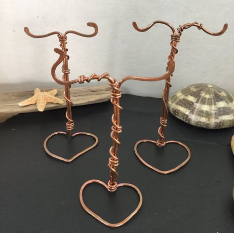 Wire earrings display stand wire wrapped display copper
