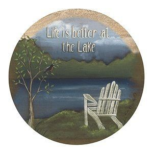 Set of 4 Sandstone Coasters - Life at the Lake by Thirstystone. $25.49. Ultra Absorbent. Made in the U.S.A.. Will Last and Absorb for Years. Set of 4 Natural Sandstone Coasters. Cork Backing to Protect Your Furniture. Description:Set of 4 Natural Sandstone Absorbent CoastersCork-backed to protect furnitureMade In The USA4 inches in diameter. Save 15% Off!