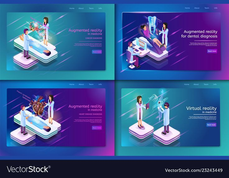 Set Banner Isometric Medical Treatment für Patienten. Vector Illustration Augmente …