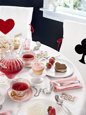 Valentine's Day Tea Party with an Alice in Wonderland theme
