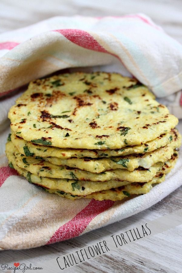 Recipe for Cauliflower Tortillas with lime and cilantro. @recipegirl