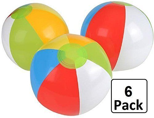 Inflatable Beach Balls 6 Pack12 Inch Color Swimming Pool Party Playing Beach Kid #Kidsco