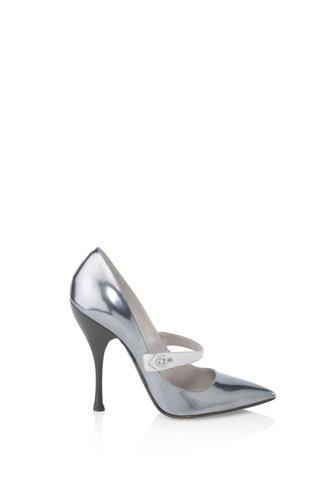 metallic pointy toed mary jane