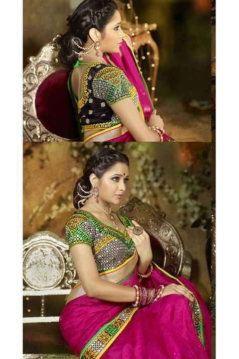 Grab this Deep Pink Net embroidered Saree @ FLAT 50% off. No coupon code required.