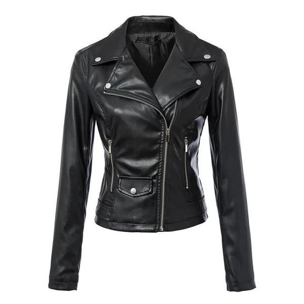 Black Faux Leather Women Short Turn-down Collar Motorcycle Biker brand Leather Coat Mujer motorcycle jackets #sheerbliss #bestoftheday  #leatherjacket #leather #handemade #leathercraft #fashion
