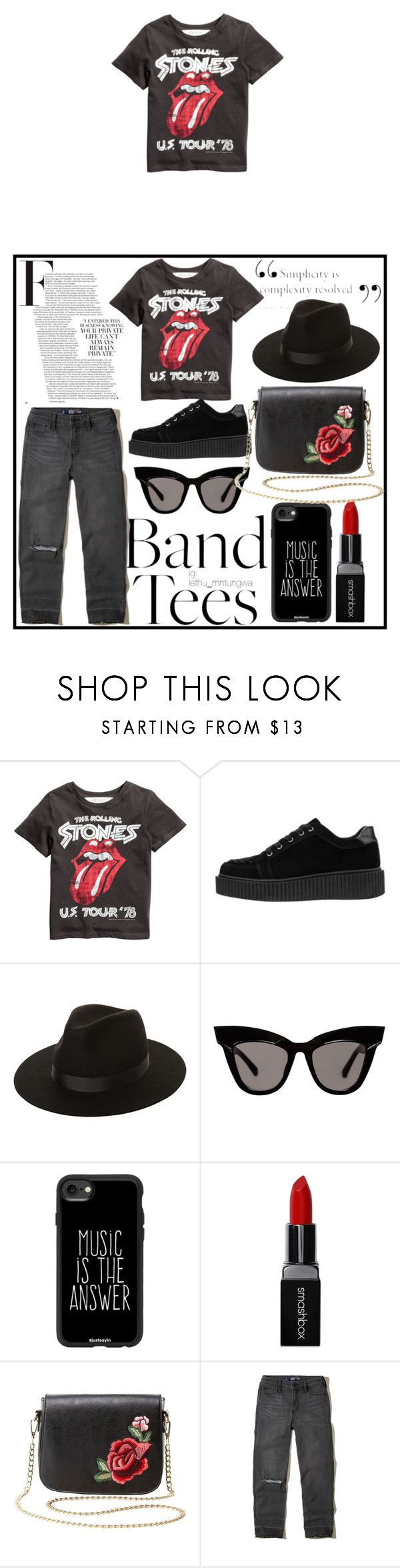 """#bandtees"" by edithhlatshwayo on Polyvore featuring Lack of Color, Casetify, Smashbox, Charlotte Russe and Hollister Co."