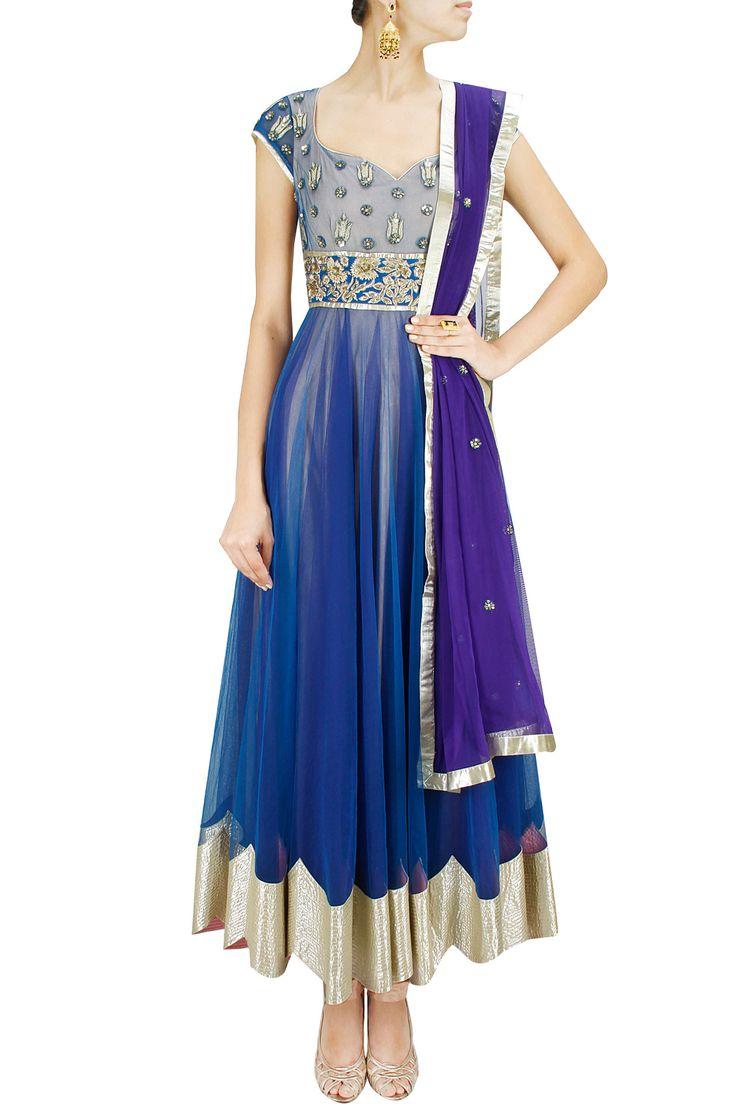 Blue and purple sequins embroidered anarkali set. BY SHEHLA KHAN.