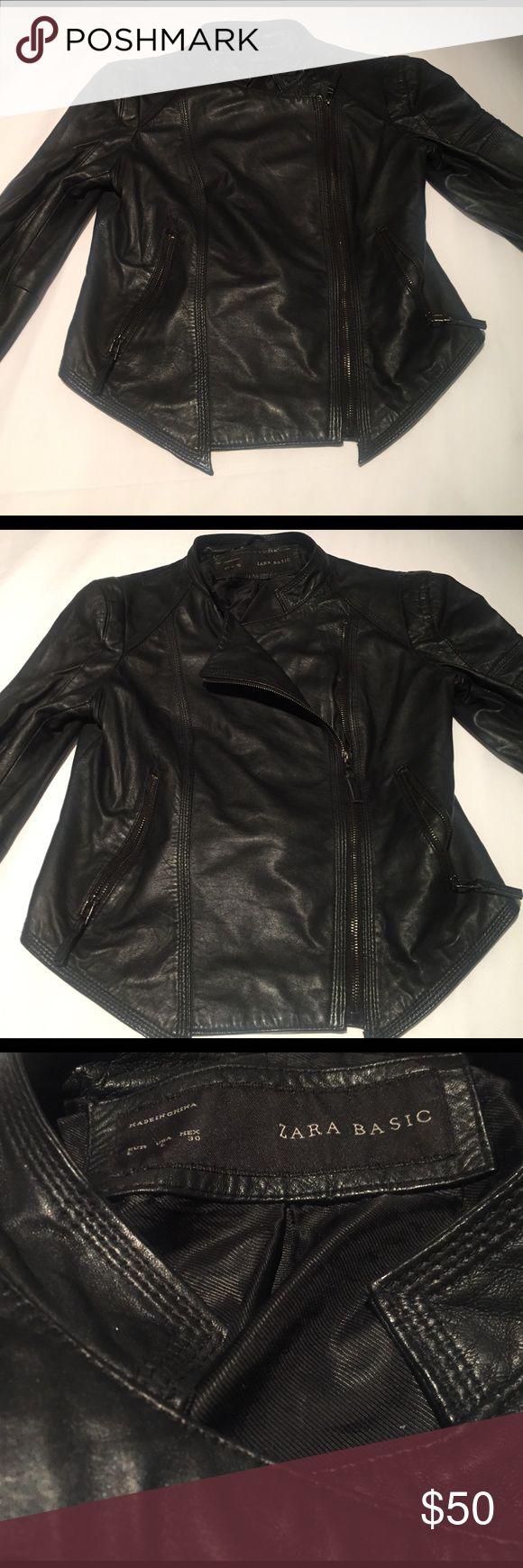 100% Leather Black Zara Jacket Gently used 100% leather jacket from Zara. Size large. Zara Jackets & Coats