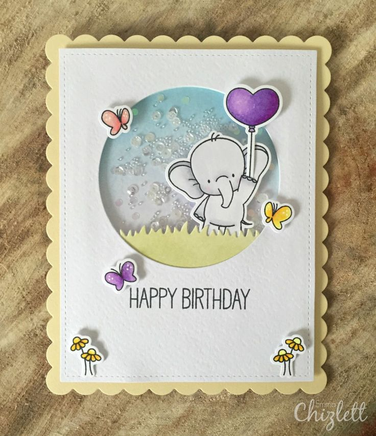 My Favorite Things - Adorable Elephants Happy Birthday card