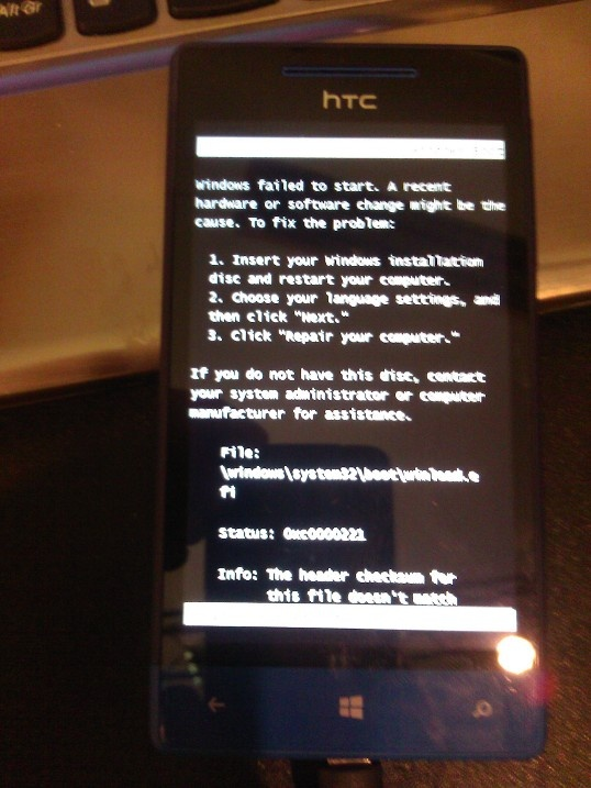 HTC boot error