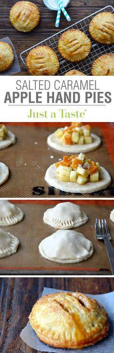 Salted Caramel Apple Hand Pies recipe on justataste.com- so good, but i used store-bought puff pastry for the dough which made this much easier. very yummy