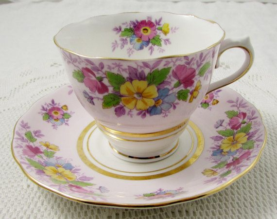 Colclough Purple Tea Cup and Saucer with Floral Bouquets, Vintage Bone China
