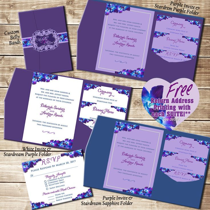 Invitation - Blue Purple Orchid Wedding, Floral Wedding Invitation Suites, Custom, Blue Purple Orchid Theme, Belly Bands, Invitation Suites by SaveTheDateMagnets4U on Etsy