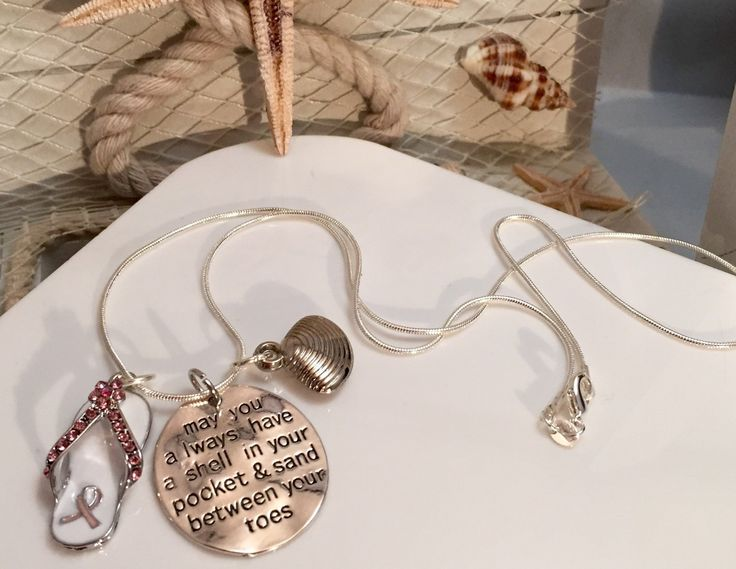 Beach / Nautical Themed Breast Cancer Awareness / Survivor Necklace - Pink Ribbon Flip Flop Charm / Mastectomy Chemo Gift / Cancer Survivor by RockYourCauseJewelry on Etsy